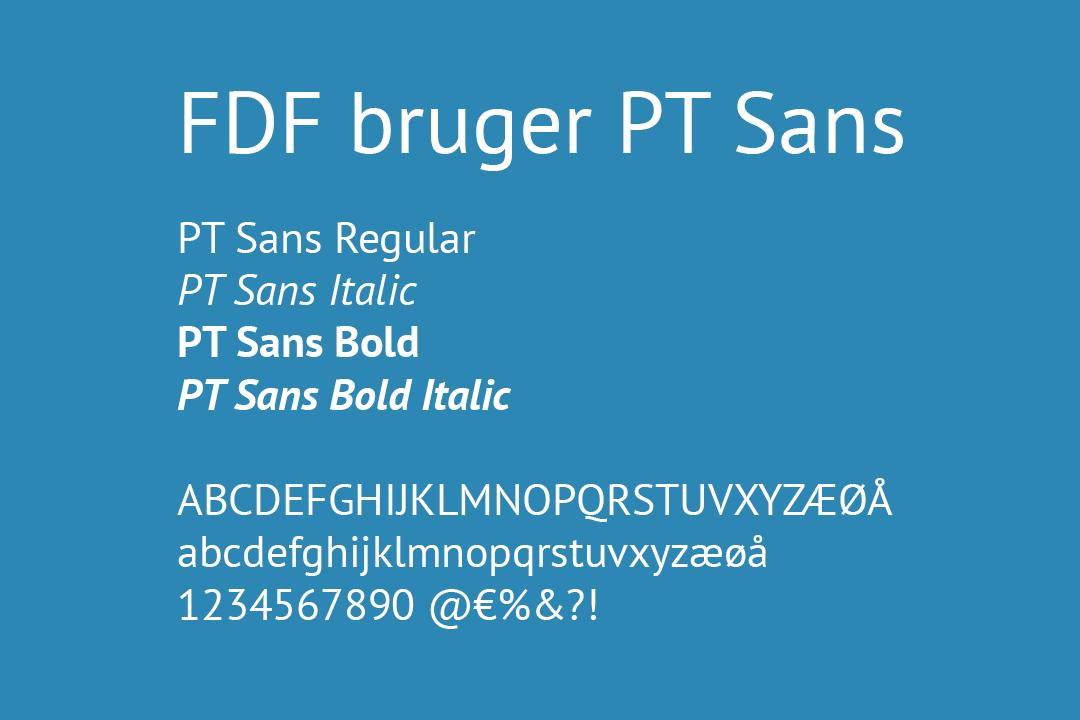 Eksempel på skriften PT Sans hos FDF
