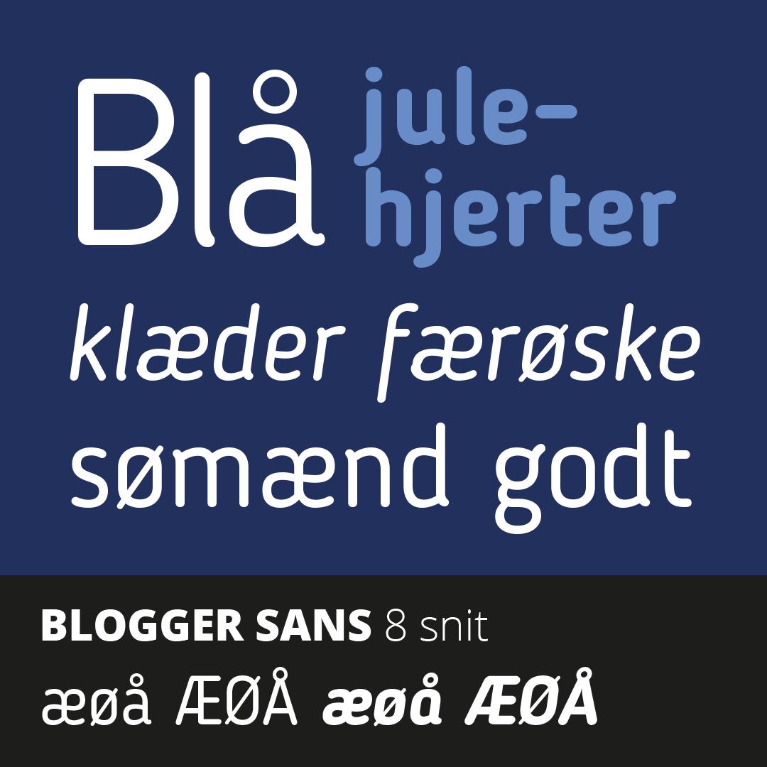 Prøve på den gratis skrift Blogger Sans med æ, ø og å