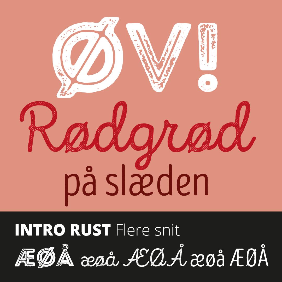 Prøve på de gratis skrifter i Intro Rust-pakken med æ, ø og å