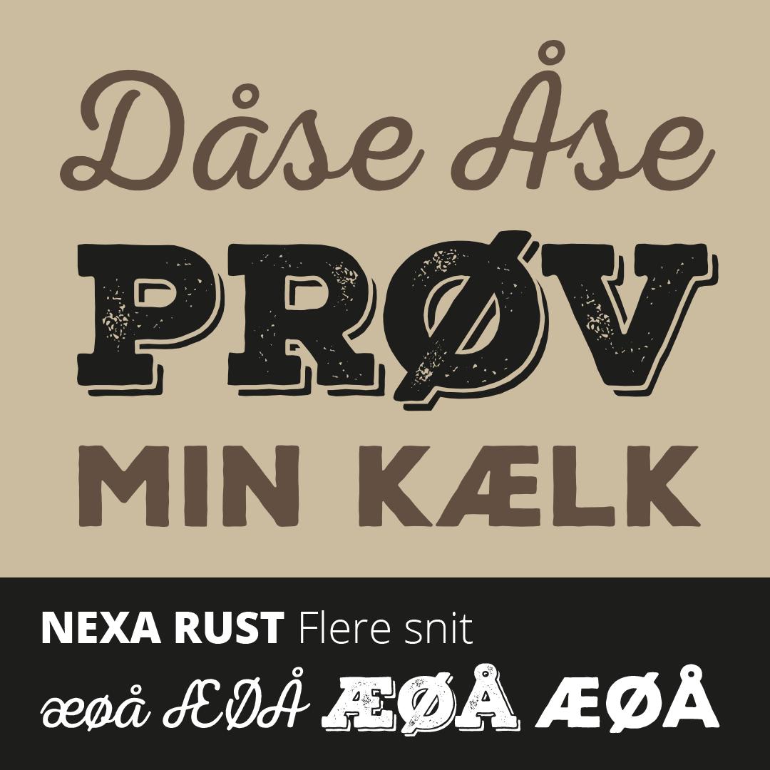 Prøve på de gratis skrifter i Nexa Rust font pakken med æ, ø og å