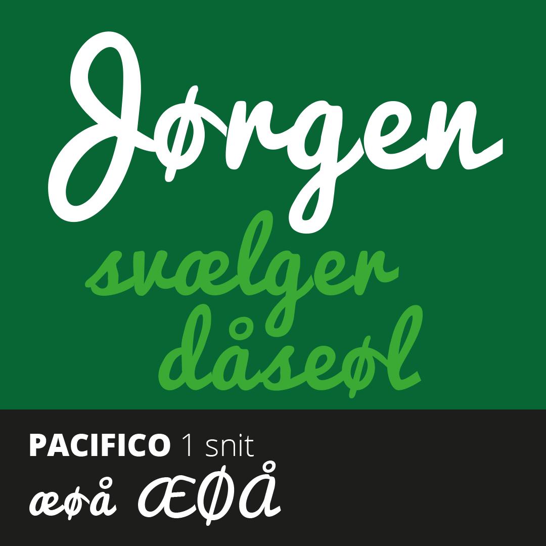 Prøve på den gratis Pacifico font med æ, ø og å
